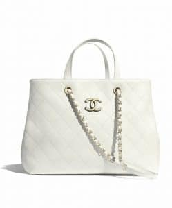 Chanel White Shopping Tote Bag