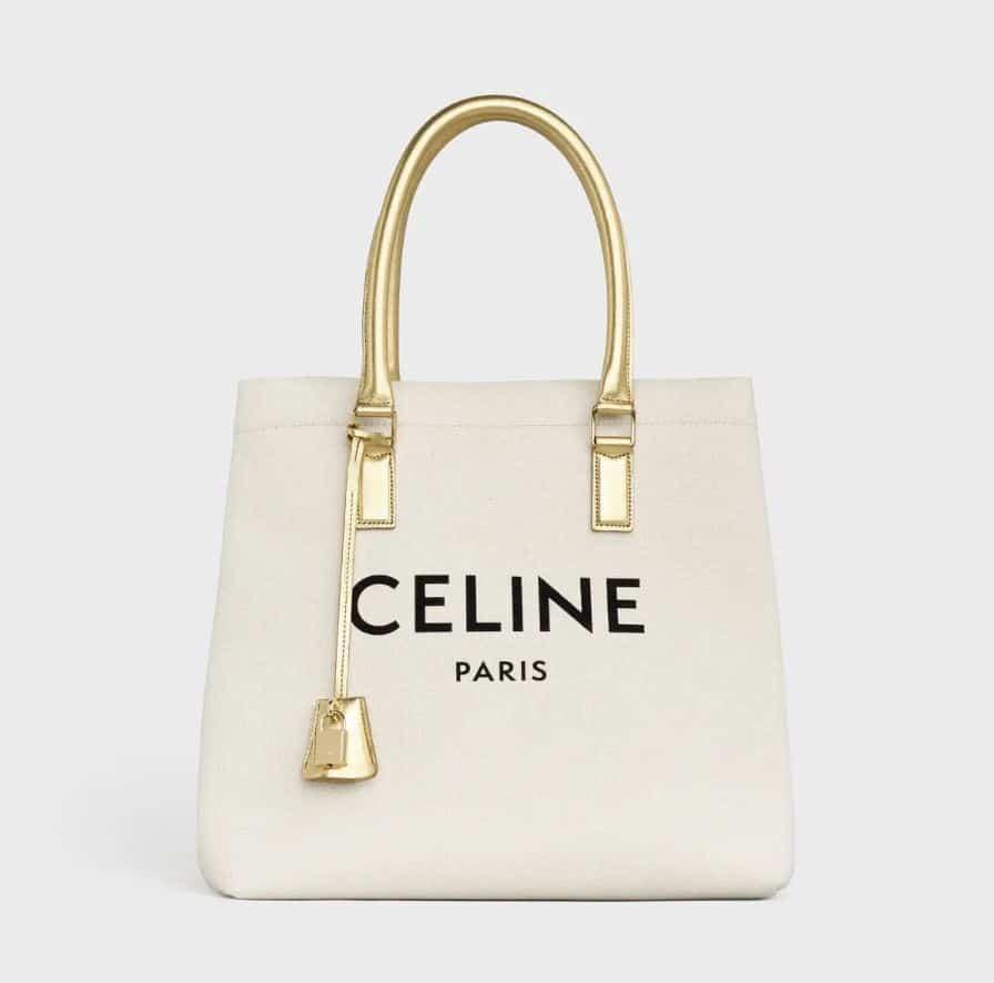 Celine Gold Handle Horizontal Cabas Bag
