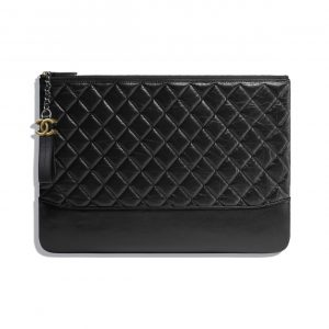 Chanel Black Aged Calfskin Large Pouch Bag