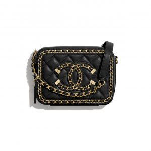 Chanel Black CC Filigree Clutch with Chain Bag