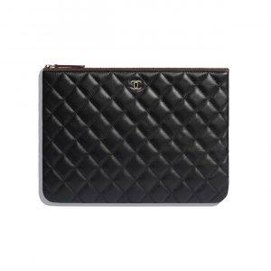 Chanel Black Lambskin Classic Pouch Bag