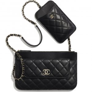 Chanel Black Lambskin Clutch with Chain Bag