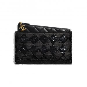 Chanel Black Sequins:Lambskin Pouch Bag