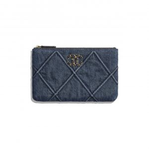 Chanel Blue Denim Chanel 19 Small Pouch Bag