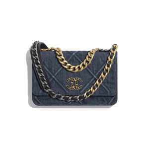 Chanel Blue Denim Chanel 19 Wallet on Chain Bag