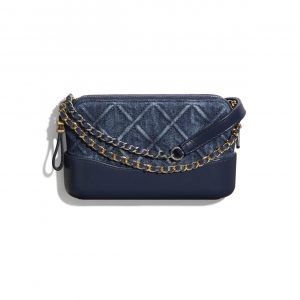 Chanel Blue Denim Gabrielle Clutch with Chain Bag