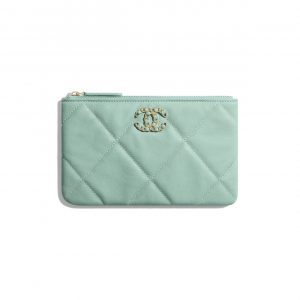 Chanel Blue Lambskin Chanel 19 Small Pouch Bag