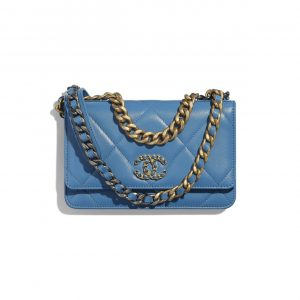 Chanel Blue Lambskin Chanel 19 Wallet on Chain