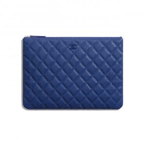 Chanel Dark Blue Classic Pouch Bag