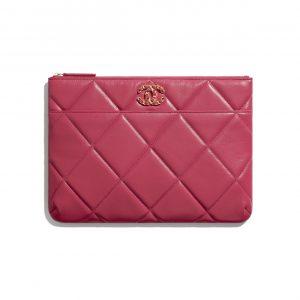Chanel Dark Pink Lambskin Chanel 19 Pouch Bag