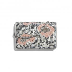 Chanel Gray/Silver/Pink Sequins Wallet on Chain Bag