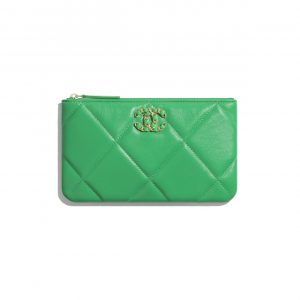 Chanel Green Lambskin Chanel 19 Small Pouch Bag
