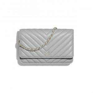 Chanel Light Gray Classic Wallet on Chain