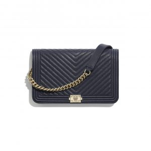 Chanel Navy Blue Chevron Boy Wallet on Chain