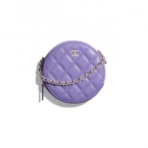 Chanel Purple Round Classic Clutch with Chain Bag