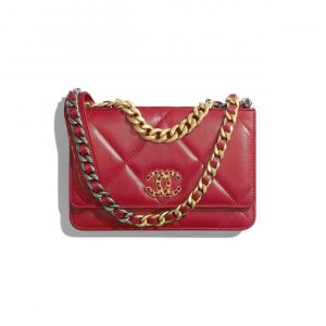 Chanel Red Lambskin Chanel 19 Wallet on Chain
