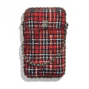 Chanel Red/Black/White/Green Tweed Clutch with Chain Bag