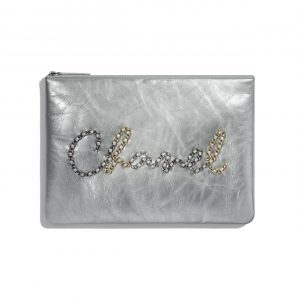 Chanel Silver Metallic Crumpled Calfskin Pouch Bag