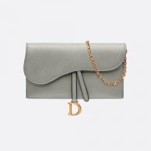 Dior Gray Stone Saddle Calfskin Long Wallet