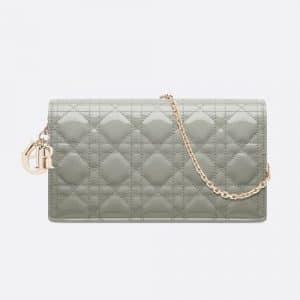 Dior Gray Stone Lady Dior Calfskin Chain Pouch