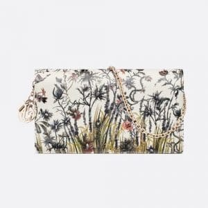Dior Multicolor Lady Dior Jardin Naturel Printed Calfskin Chain Pouch