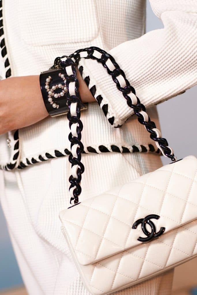 Chanel White Flap ith Black Chain - Cruise 2021