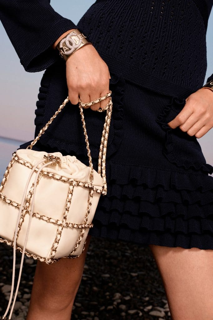 Chanel Beige All Around Chain Drawstring Bag - Cruise 2021