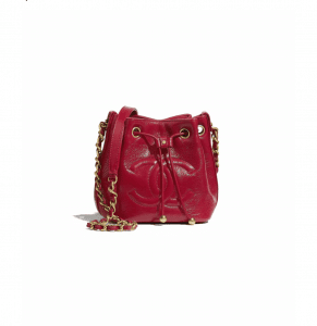Chanel Red Shiny Aged Calfskin Mini Drawstring Bag