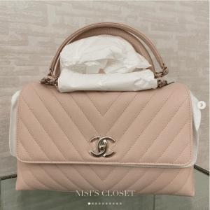 Chanel Beige Chevron Coco Handle Small Bag