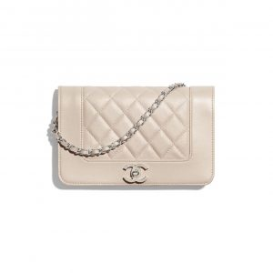Chanel Beige Grained Calfskin Wallet on Chain