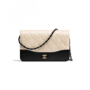 Chanel Beige/Black Aged Calfskin and Smooth Calfskin Wallet on Chain