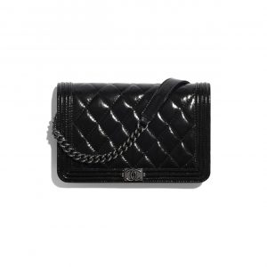 Chanel Black Aged Calfskin Boy Chanel Wallet on Chain