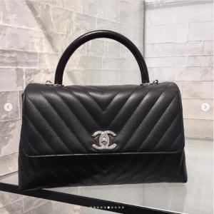 Chanel Black Chevron Coco Handle Bag