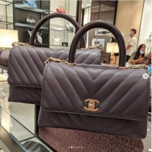 Chanel Black Chevron Coco Handle Bags
