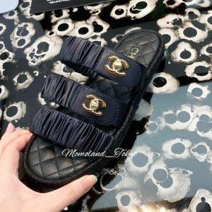 Chanel Black Coco Beach Sandals