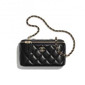 Chanel Black Lambskin Classic Box with Chain Bag