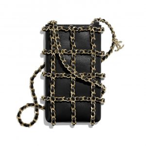 Chanel Black Lambskin Clutch with Chain