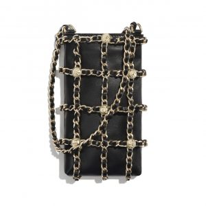 Chanel Black Lambskin and Studs Clutch with Chain