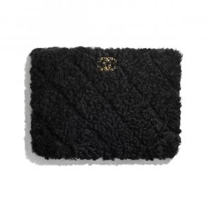 Chanel Black Shearling Sheepskin Chanel 19 Pouch Bag