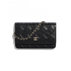Chanel Black Shiny Crumpled Goatskin Wallet on Chain