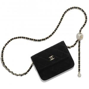 Chanel Black Velvet Pearl Crush Clutch with Chain Bag