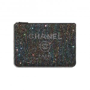 Chanel Black Viscose/Calfskin/Sequins Deauville Pouch Bag