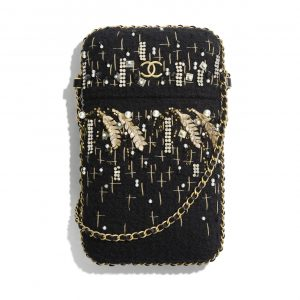 Chanel Black/Gold Tweed/Resin/Imitation Pearls/Strass Clutch with Chain Bag