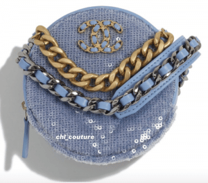 Chanel Blue Sequin Pearl Crush Clutch on Chain Bag - Cruise 2021