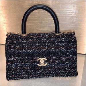 Chanel Blue Tweed/Sequin Coco Handle Bag