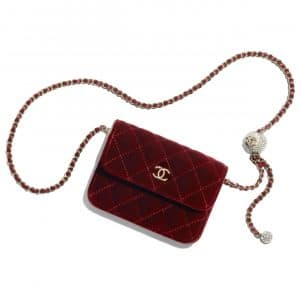 Chanel Burgundy Velvet Pearl Crush Clutch with Chain Bag