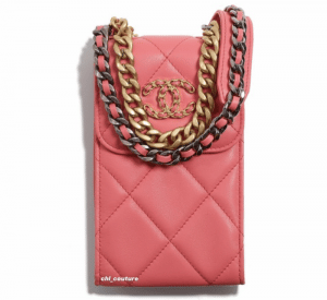 Chanel Coral Chanel 19 Phone Holder on Chain - Cruise 2021