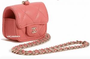 Chanel Coral Earpod Holder on Chain - Cruise 2021