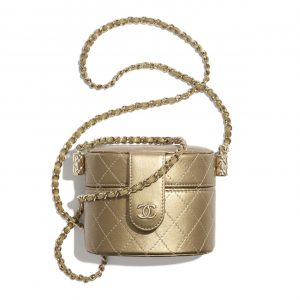 Chanel Gold Metallic Lambskin Small Clutch with Chain Bag