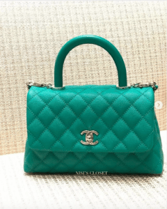 Chanel Green Coco Handle Bag